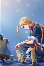 Preview iPhone wallpaper Blonde girl and cat, snowy, anime