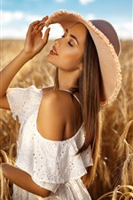 Blonde girl, hat, wheat field, summer