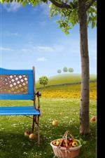 Blue bench, apples, basket, tree, green grass