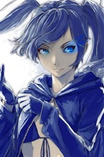 Preview iPhone wallpaper Blue eyes anime girl, coat, gloves