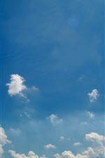 Preview iPhone wallpaper Blue sky, white clouds, nature landscape