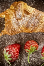 Bread and strawberry, food