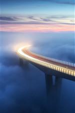 Ponte, nevoeiro, nuvens, linhas claras, altura, manhã
