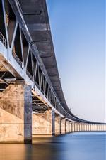 Preview iPhone wallpaper Bridge, river, calm water