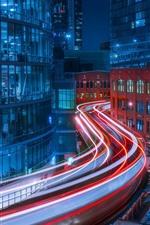 Chicago, city night, light lines, buildings, USA