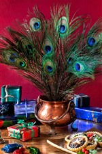 Preview iPhone wallpaper Christmas gifts, lamp, coffee, peacock feathers, cookies, still life