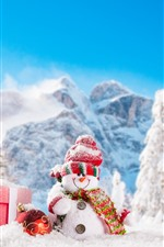 Preview iPhone wallpaper Christmas, snowmen, snow, trees, mountains, winter