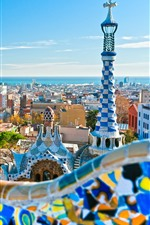 Preview iPhone wallpaper City, Barcelona, buildings, tower, Spain