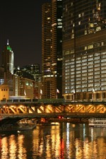 City, night, buildings, river, bridge, lights
