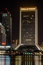 Preview iPhone wallpaper City night, skyscrapers, river, bridge, lights, USA
