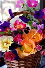 Colorful flowers, basket, windows