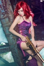 Preview iPhone wallpaper Cosplay girl, red hair, gun