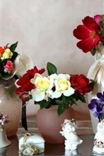 Different flowers, vase, still life