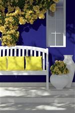 Preview iPhone wallpaper Door, bench, pillow, yellow roses, sunlight