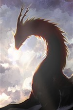 Fantasy art picture, dragon, wings