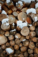iPhone壁紙のプレビュー 薪、木、雪