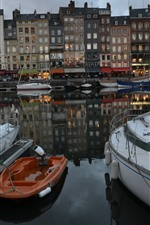 Preview iPhone wallpaper France, Honfleur, boats, river, buildings, dusk