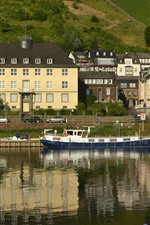 Germany, Cochem, town, house, river, ship