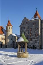 Alemanha, hamburgo, edifícios, castelo, neve, inverno