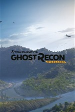 Preview iPhone wallpaper Ghost Recon: Wildlands, mountains, trees, aircraft