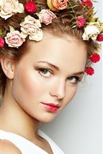 Menina, face, decoração principal, rosas