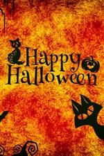 Aperçu iPhone fond d'écranHappy Halloween, nuit, chats, Hibou, araignée, citrouille