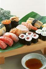 Japanese food, sushi, tea