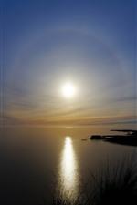 Preview iPhone wallpaper Lake, sun, sunset, water