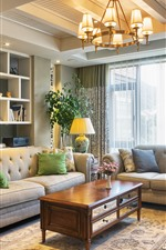Living room, sofa, pillow, lamps