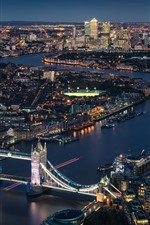 London, England, Thames River, Tower Bridge, city night, lights