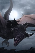 Preview iPhone wallpaper Lord of the Rings, dragon flight, art picture