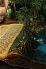 Magic book, trees, lake, houses, candle, creative