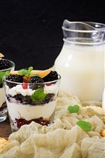 Milk, yogurt, berries, cookies, dessert