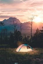 Morning, tent, trees, river, fog, sunrise