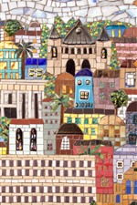 Preview iPhone wallpaper Mosaic painting, wall, city, Jerusalem