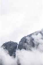 Mountain, rock, fog, waterfall, cliff
