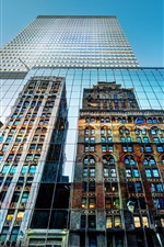 New York, USA, city, skyscrapers, glass wall, mirror