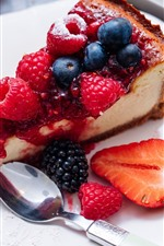 Preview iPhone wallpaper One slice of cake, berries, fruit