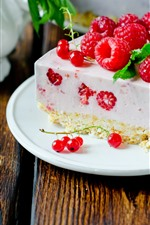 Preview iPhone wallpaper One slice of cake, raspberry, dessert, spoon
