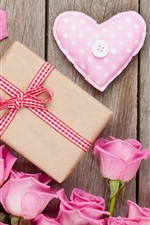Pink roses, gift, love heart, romantic