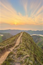 Portugal, Azores, trail, fence, mountains, sunset