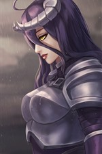 Preview iPhone wallpaper Purple hair fantasy girl, armor, rain