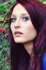Purple hair girl, blue eyes, berries