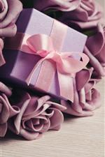 Purple rose flowers, gift, ribbon