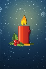 Preview iPhone wallpaper Red candle, flame, snowflakes, vector picture