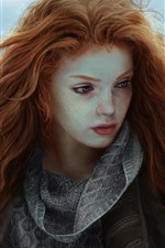 Preview iPhone wallpaper Red hair fantasy girl, freckles