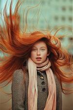 Red hair girl, blue eyes, hair flying