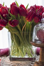 Red tulips, candle, pink silk