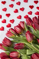 Red tulips, love hearts, romantic