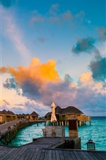 Resort, bungalows, sea, tropical